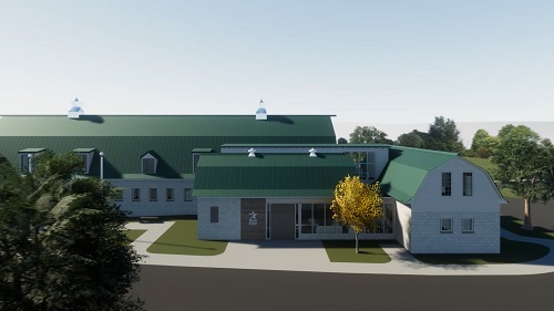 An exterior rendering of the new healing quarters